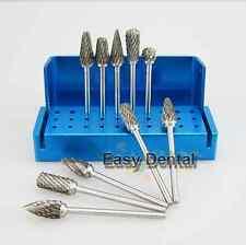 Set 10 Dental Lab Titanium Nitrate Carbide Burs + 1 FG RA Bur Holder Block