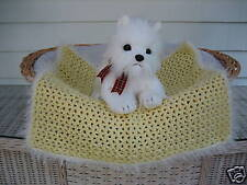 Fancy Dog Cat Bed Blanket Yellow with White Sparkle Faux Fur Trim