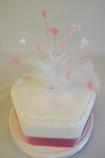 Handmade wired PINK HEART & FEATHER cake topper -for birthday, wedding cakes etc