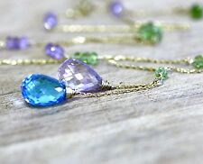Natural Swiss Blue Topaz and Pink Amethyst Necklace in Solid 14K Yellow Gold
