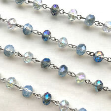 Blue Opal Crystal Rondelle Beaded Rosary Silver Eyepin Chain 8mm 2ft 66381
