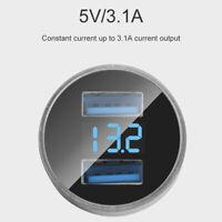 New Dual Ports 3.1A USB Car Cigarette Charger Lighter Digital LED Voltmeter Litt