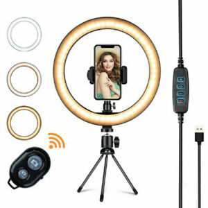 "6"" Live Broadcast Dimmable LED 16cm Beauty Ring Light Tripod Selfie Stick Remote"