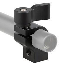 "CAMVATE Single 15mm Rod Clamp 1/4""-20 Threaded Hole Adjustable M4 Thread Screw"