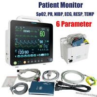 "Portable 12"" 6 Parameter Vital Signs Patient Monitor ECG NIBP RESP SPO2 PR TEMP"
