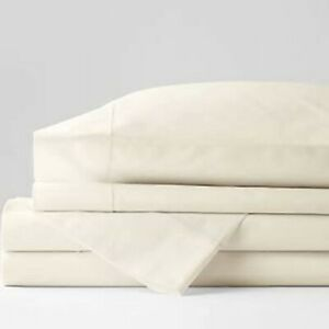 Oake Solid 525TC Solid Sheet Set, Queen MSRP $215 NWT 100% Cotton Sateen ivory