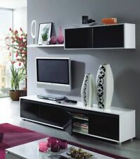 Black and White Gloss TV Complete Wall Cabinet/Television Storage/Media Unit