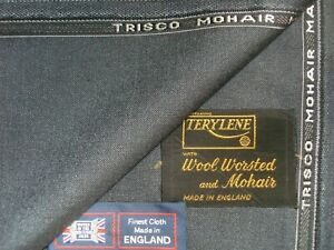 WOOL + TREVIRA & KID MOHAIR (as 2-Ply) SUITING FABRIC - MADE IN ENGLAND - 3.58 m