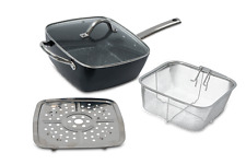 4-in-1 Casserole Pan Fry Steam Roast Ceramic Non Stick Induction & Glass Lid