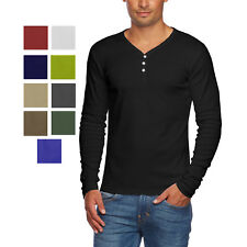 072c0817cf83 Alta Men s Slim Fit V Neck Long Sleeve Cotton T-Shirt with 3 Button Up