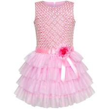 Sunny Fashion Girls Dress Ruffle Skirt Pink Flower Birthday Party Age 5-12 Years