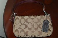 COACH SIGNATURE CANVAS BROWN LEATHER TRIM WRISTLET BAG NEW