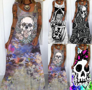 Women Summer Skull Casual Sleeveless Ladies Beach Long Dress Size 6-22 E6111
