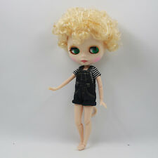 Blythe Nude Doll from Factory Matte Face Jointed Body Golden Short Curly Hair
