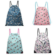 Girls Canvas Sport Backpack Ladies Drawstring Shopping Swimming Shoulder Bag