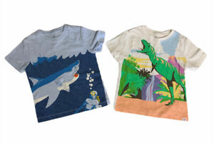 Baby Gap Boys Size 4 T-Shirts Shark & Dinosaur Cotton Blue White Lot Of Two