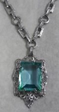 Vintage Art Deco Rhodium Plate Czech Aqua Blue Stone Filigree Necklace