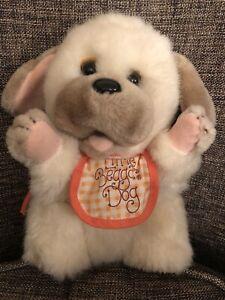 Applause plush dog Little Beggar 1984 vintage Orange and white bib Cl17