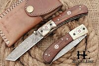 HUNTEX Custom Handmade Damascus 11cm Long Walnut Wd Hunting Folding Pocket Knife