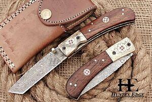 HUNTEX Custom Handmade Damascus 110 mm Long Walnut Hunting Folding Pocket Knife