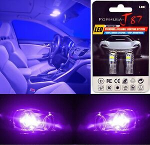 LED 3030 Light Purple 12000K 194 Two Bulbs License Plate Tag Replace Lamp Show