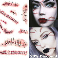 3 x Halloween Face Body Fake Temporary Tattoos Scars Cuts Zombie Make Up Kit UK