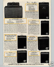 1970 PAPER AD Teisco Guitar Organ Amplifier Amplifiers 100 W Solid State Reverb
