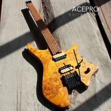Maple Fretboard Headless Electric Guitar Tremolo Bridge Honey Color Ash Body