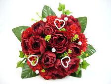 Wedding ARTIFICIALE SETA FIORE ROSSO SCURO BALL HEART ROSE Ivy Pearl BRIDAL BOUQUET