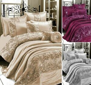 Luxuries GIGI EMBROIDERED Satin Silk Duvet Quilt Cover Set All Sizes