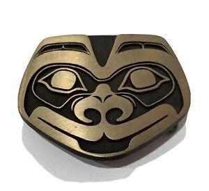 Tlingit Wolf Belt Buckle Solid Bronze Rainbow Metals Brand New