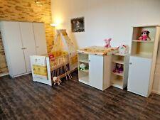 Chambre de Bébé Complet Blanc Lit à Barreaux Armoire Commode Étagères 5 Couleurs