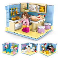 4in1 Modern House Model Building Blocks with Figures Street View Toys Bricks