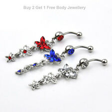 Dangly Silver Butterfly Triple Dangle Gem Navel Belly Bars Surgical Steel