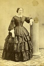 Woman Standing Paris Early Studio Photo Burckel Old CDV 1860