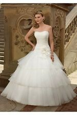 "Mori Lee Ivory Organza Wedding Dress with Tiered Skirt Size ""8US"""