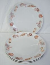 "4 Captiva Dinner Plates Florida Marketplace Seashell China 10 5/8"" Plate Set"
