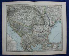 Original antique map BALKANS, ROMANIA, HUNGARY, BULGARIA, ODESSA, Stieler 1886