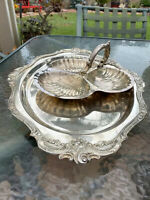 """Vintage """"Baroque by Wallace"""" Silver Plate 3 Divided Shell Serving Dish* PLATTER"""