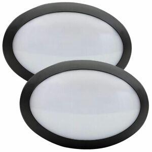 2 x LED Außenleuchte IP66 oval 10W = 60W schwarz Lampe kaltweiß 6000K >> UVP 59€