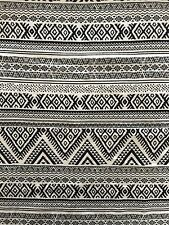 Black/White Aztec Cotton Lycra Jersey 4 Way Stretch Fabric SQ149 BKWHT