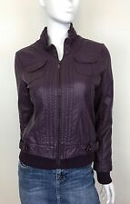 Jou Jou Jacket Faux Leather Fully Lined Ruffled Collar 2 Pockets Plum Size Small