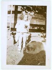 Vintage 1936 Snapshot Photo Little Girl w Bow in Hair, Cat & Fat Pekingese Dog