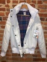 NWT - Womens Roxy Puff Winter Jacket White w/ Knit Collar Plaid Lining - Size M
