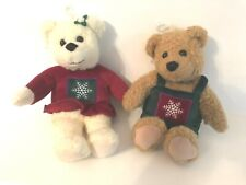 Vintage Hallmark Kiss Kiss Mistletoe Plush Bears-Lot of 2