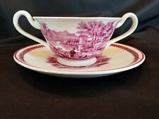 Vtg Wedgwood Etruria England 2 Handled Cup Bouillon Soup Saucer Red Transferware