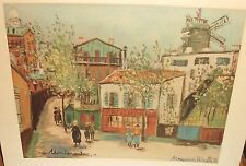 """MAURICE UTRILLO """"MONTMARTRE"""" PARIS STREET SCENE COLOR LITHOGRAPH PRINTED IN USA"""