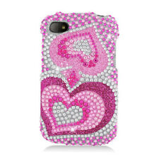 BlackBerry Q10 Crystal Diamond BLING Hard Case Snap On Phone Cover Pink Hearts