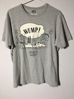 Uniqlo Peanuts Mens Grey Graphic T Shirt Size L Fitted Short Sleeve Good Condt