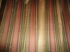 CROSCILL CARRINGTON FABRIC SHOWER CURTAIN GREEN CINNAMON GOLD STRIPE 71 X 72